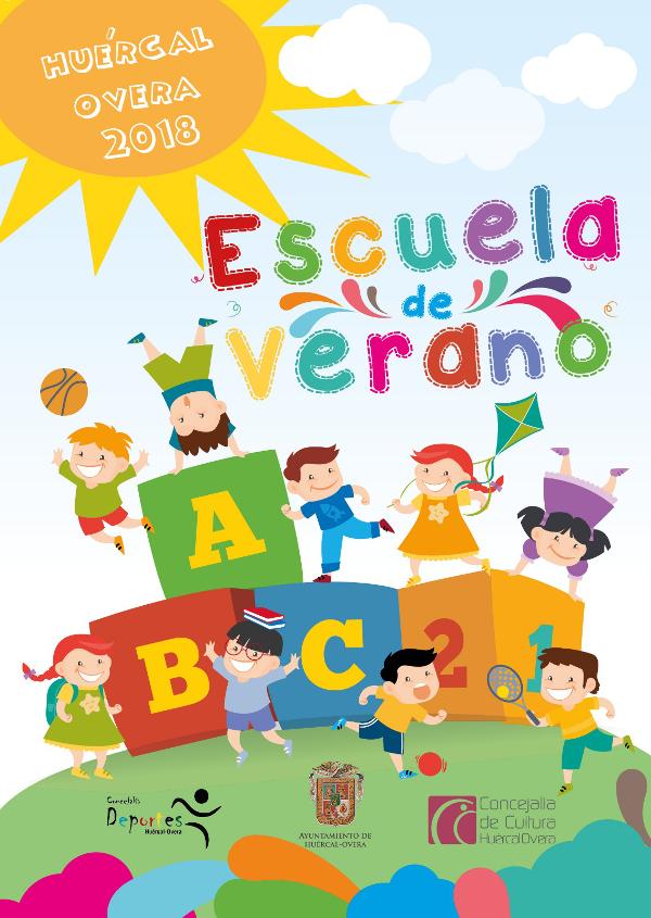 Cartel Escuela de Verano - Dibujo niños jugando